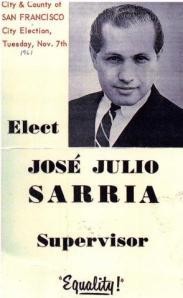Verkiezingsposter uit 1961 van Jose Julio Sarria