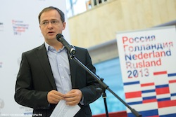 De Russische minister Medinski bij de opening van de Mondriaantentoonstelling. Foto: website Nederland-Ruslandjaar.