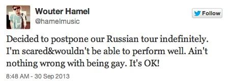 De tweet van Wouter Hamel.