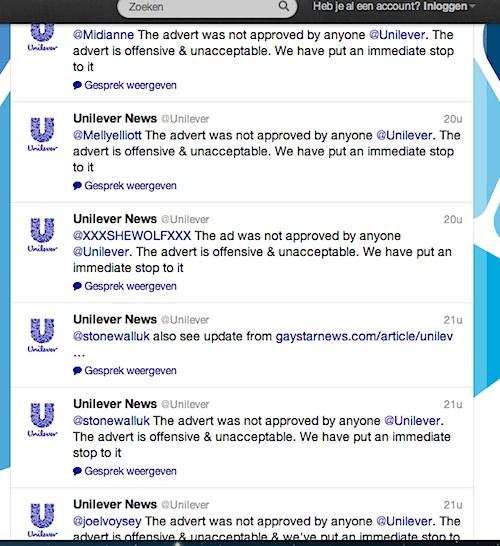 Unilever is druk bezig op Twitter, met reageren op boze reacties naar aanleiding van de gewraakte homo-advertentie.