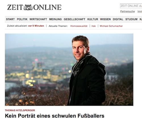 De voetballer komt uit de kast via Die Zeit.