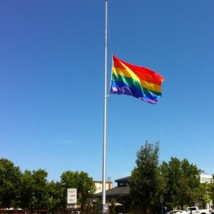 Regenboogvlag half stok Orlando