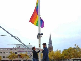 Eindhoven stadhuis wethouder Jacob Wedemeijer en Bianca Kaathoven COC Eindhoven